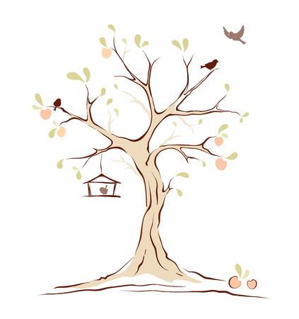 Birds on summer tree