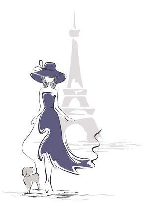 Lady in a hat in Paris Vector