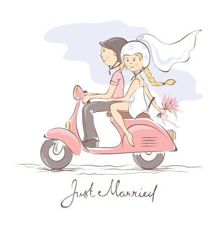 Newlyweds on a scooter Stock Illustratie