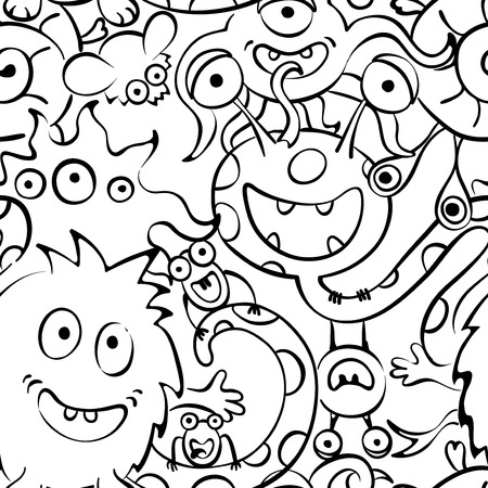 cartoons outline: Contour background - funny monsters