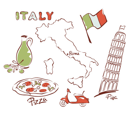 Set of images - Italy Vector