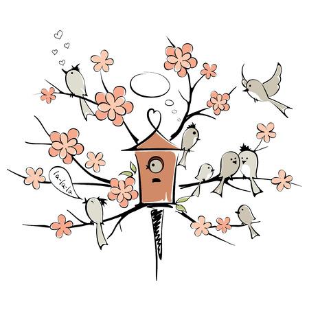 Spring birds on a flowering tree Vector