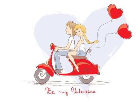 Valentine card - Boy with a girl on a scooter Vector