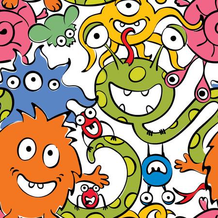 cartoons outline: Background - funny monsters Illustration