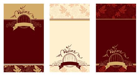 Set of patterns for wine labels Vector