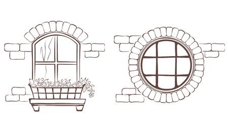 round window: Vintage window Illustration
