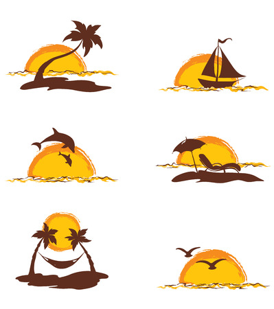 hammock: Collection of images - island and palms Illustration