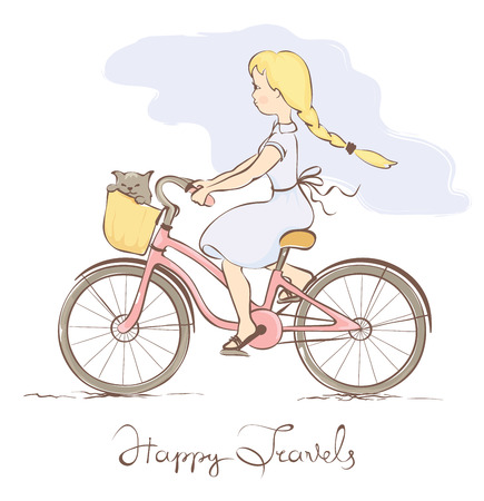 Girl on a bicycle in a retro style