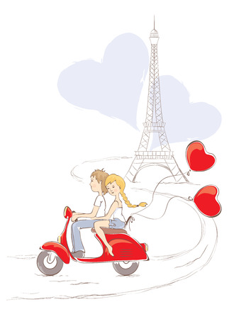 scooter: Paris - the city of love Illustration