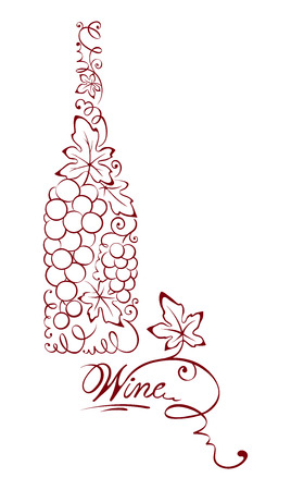 grapes wine: Illustration -- abstract wine bottle