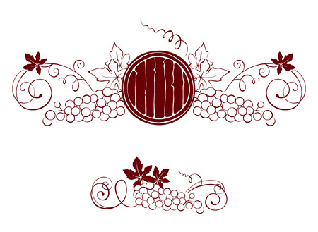Set design elements -- grape and barrel Vector
