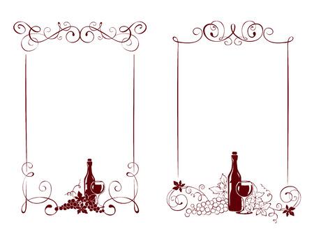 Set of frames -- vine and a wine bottle