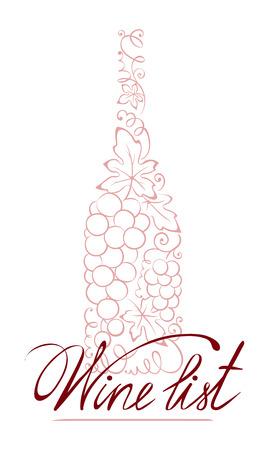 carte: Illustration -- abstract floral wine bottle Illustration