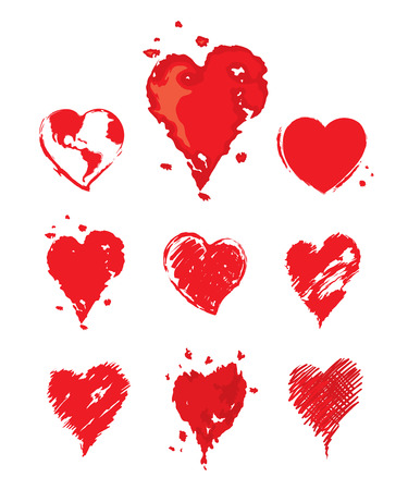 Collection illustrations of hearts Vector