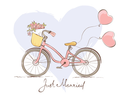 stationary bicycle: Wedding card with a bicycle for the bride