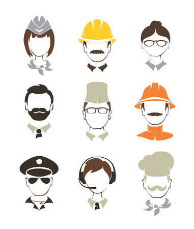 unrecognizable: Set illustrations -- people of different professions