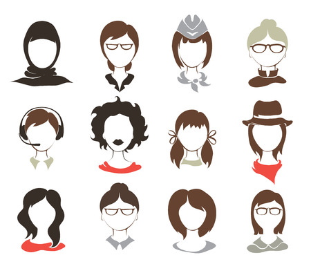 woman face: Set illustrations -- female avatars