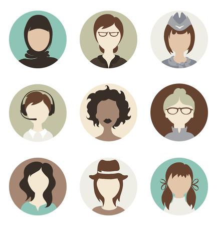 Set illustrations -- abstract female avatars Vector