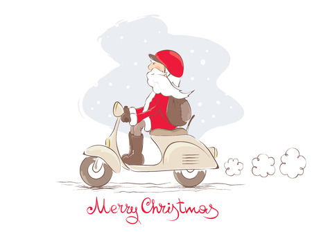 cartoon biker: Vector illustration - Santa on a scooter