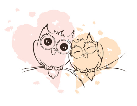 Illustration - love owls on a branch Vector