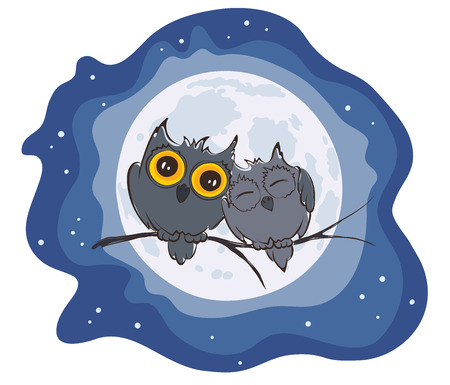 Illustration - love owls and full moon Vector