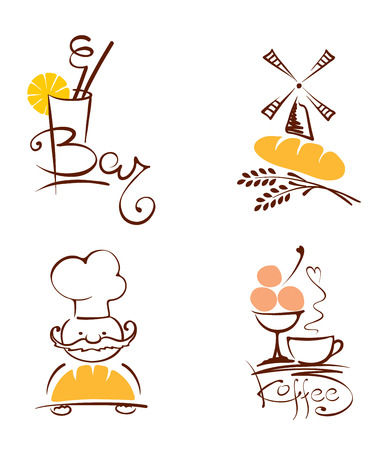 Collection illustration -- cafes and bakeries Vector