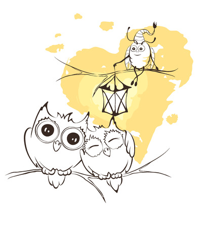 firefly: Illustration - love owls and Firefly with flashlight Illustration