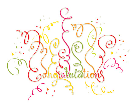 party poppers: Congratulations to all holidays Illustration