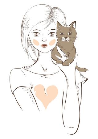 Illustration -- Girl with kitten Vector
