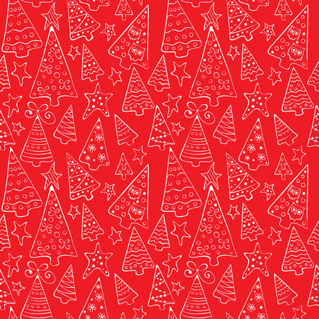 Pattern with funny Christmas trees Vector