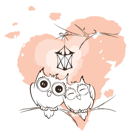 owl illustration: Valentine card - love owls Illustration