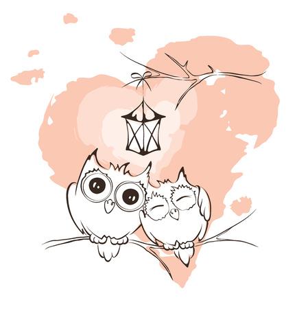 pen cartoon: Valentine card - love owls Illustration