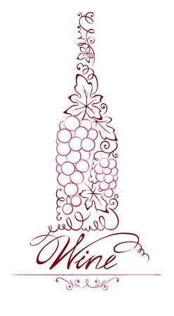 vine and leaves of vine: Illustration -- abstract floral red wine bottle