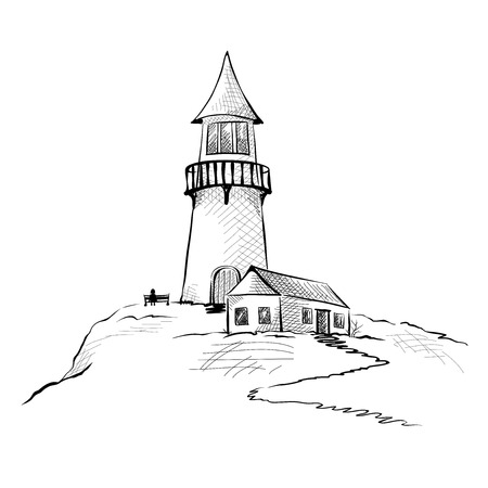 lithograph: Graphic illustration - a lighthouse