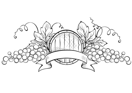 cask: Design elements -- grape with ribbon and wine cask