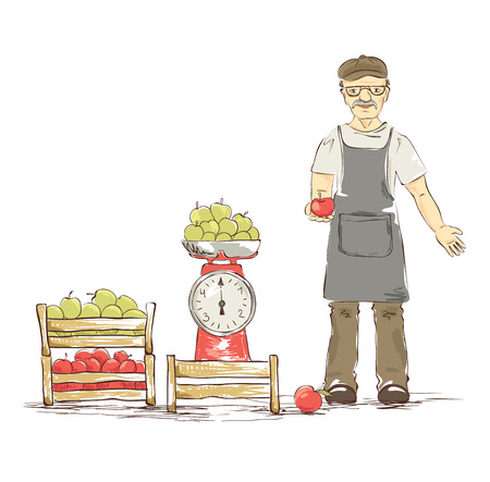fruit illustration: An older man sells apples. Vector illustration. Illustration