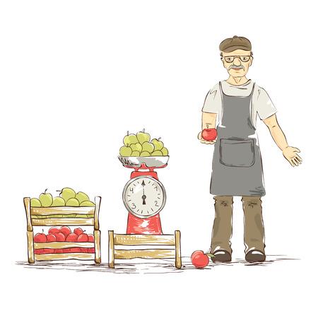 fruit trade: An older man sells apples. Vector illustration. Illustration