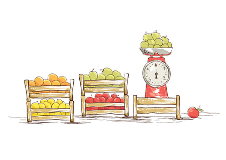 box weight: Street vending fruit. Vector illustration.