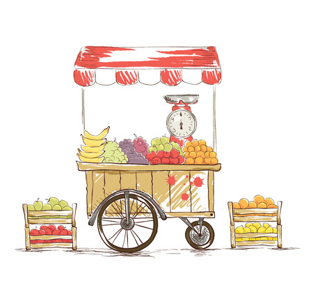 Fruit Shop on wheels. Vector illustration. Vector