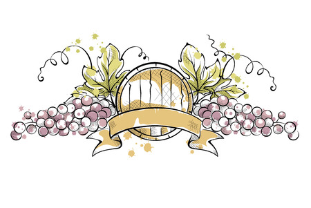 Watercolor illustration -- grape with ribbon and wine cask Illustration