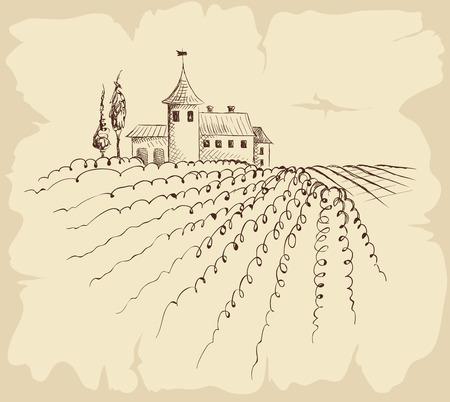 farmstead: Vintage landscape with farmstead Illustration