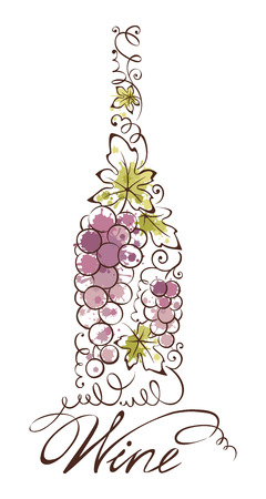 wine grape: Abstract vector illustration -- wine bottle Illustration
