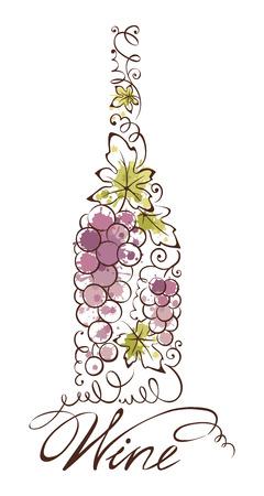 grapes: Resumen ilustraci�n vectorial - botella de vino Vectores