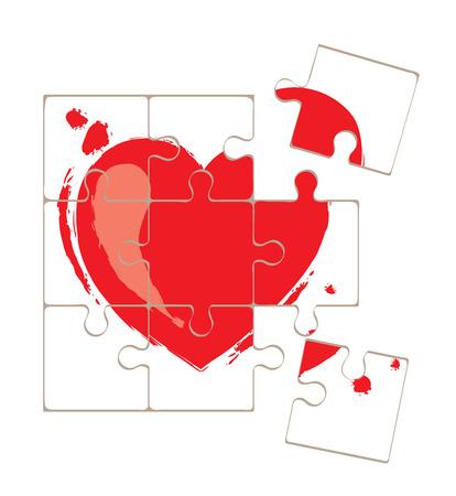 Valentine card -- love puzzle Illustration