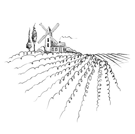 Graphic landscape with mill Vector