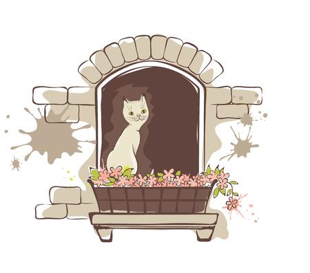 window sill: Cute cat in the window Illustration