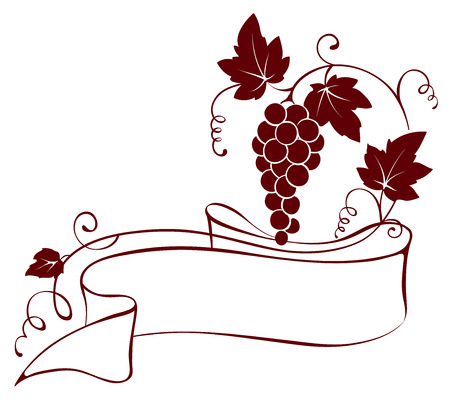 grape vines: Vector illustration, design element -- grape with ribbon