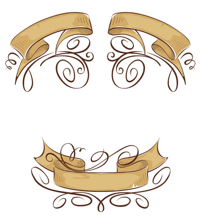 curled: Set of design elements - Ribbons with curls Illustration