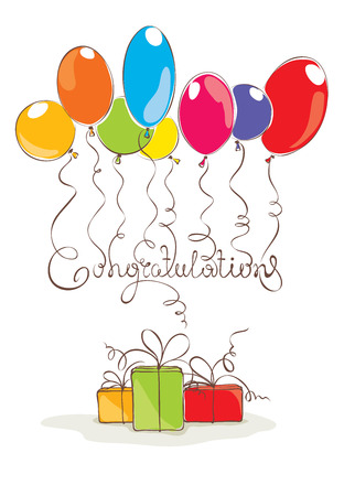 congratulations word: Vector illustration -- Congratulation with balloons