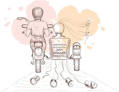 Graphics vector illustration -- bride and groom on a motorcycle
